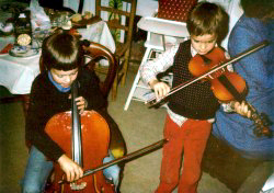 Richard and Robin playing cello and violin